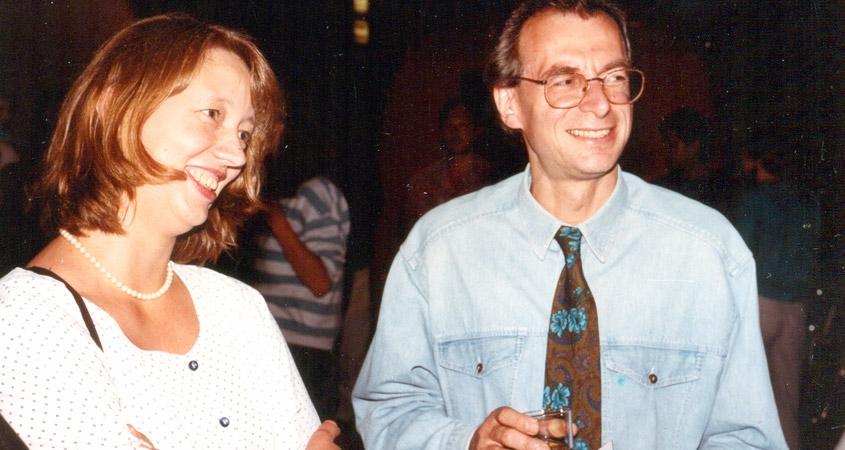 Bildhauerin Nina Koch und WDR-Studioleiter Werner Zeppenfeld