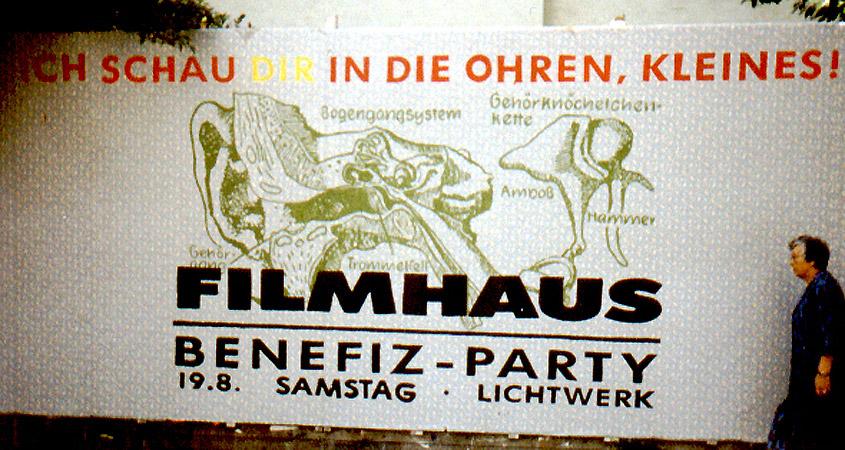 Plakatwand zur Filmhausparty 1989