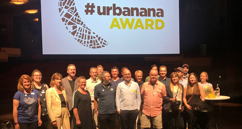 Die Urbanana-Preisträger mit dem Urbanana-Orga-Team