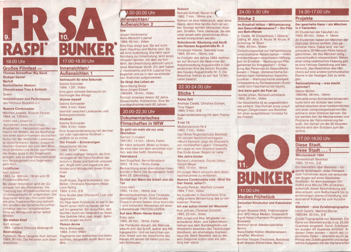 2. Bielefelder Filmfestprogramm-Flyer 1984