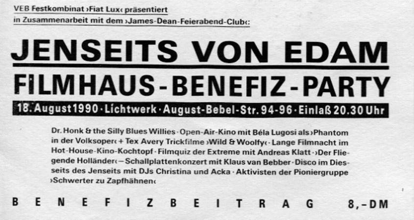 """Filmhausparty """"Jenseits von Edam"""" 1990"""