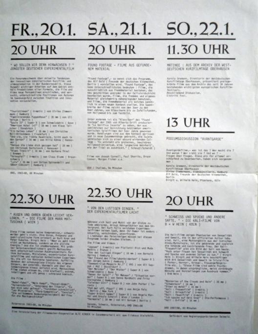 Avantgardelfilmtage Januar 1989 Programmübersicht
