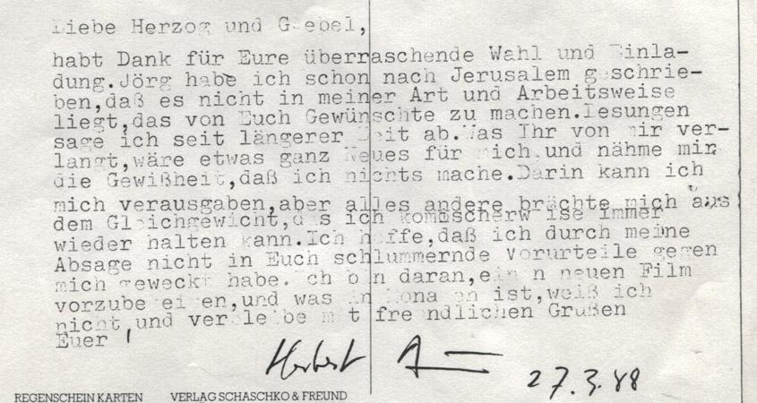 Absage von Herbert Achternbusch1988 per Postkarte