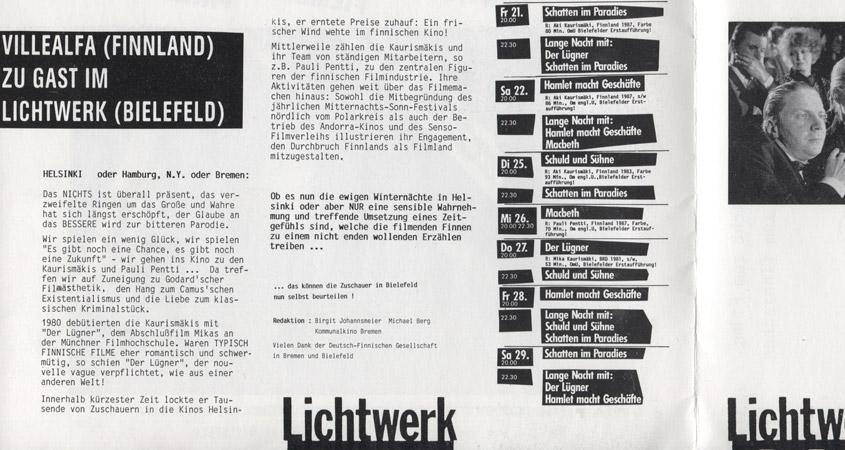Finnische Filme Programm 1988