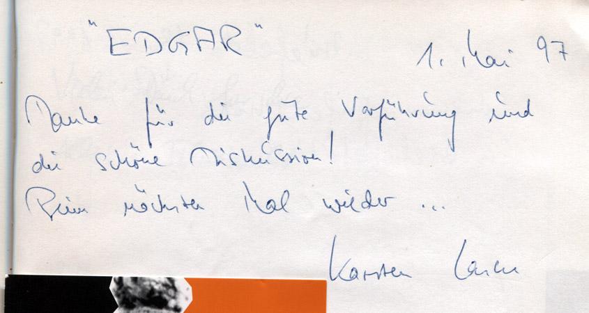 """Karsten Laske mit """"Edgar"""" 1997 zu Gast im Lichtwerk"""