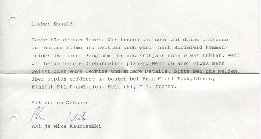 Kaurismäki-Einladung 1988