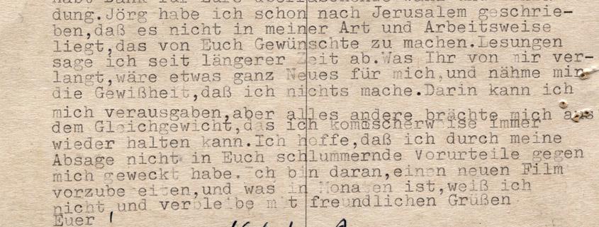 Gastatelier-Absage von Herbert Achternbusch 1988