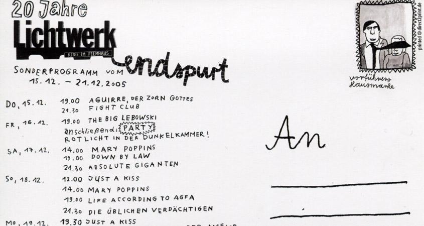 Endspurt-Postkarte (Ausschnitt)