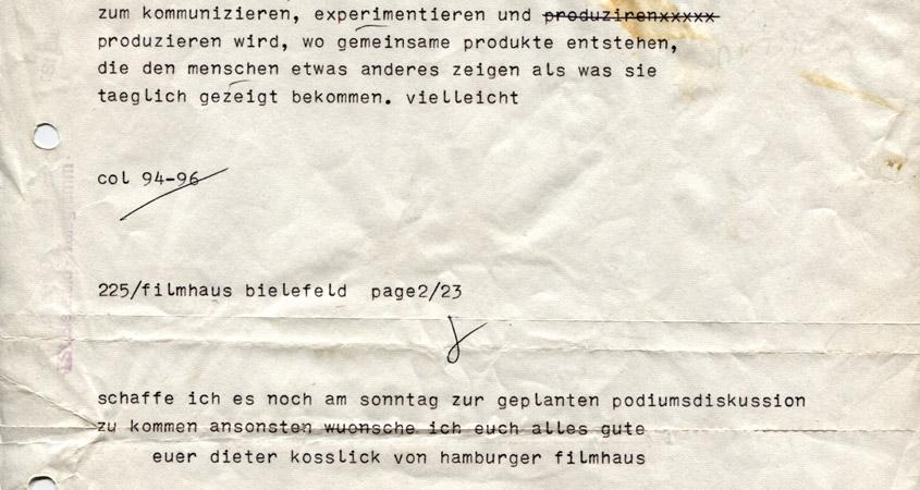Dieter Kosslick gratuliert dem Filmhaus 1986